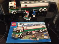 Lego petrol tanker and pump, minifigure, instructions included