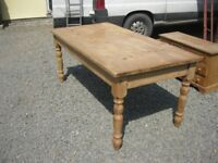 LARGE SOLID PINE FARMHOUSE TABLE. 6' LEGS DETACHABLE. STURDY PIECE. VIEWING/DELIVERY AVAILABLE