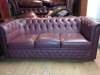 Lovely 3 piece chesterfield. 3 setter and two club chairs.