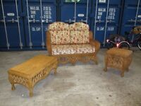 CANE CONSERVATORY TWO SEATER + 2 TABLES