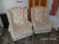 2 x Queen Ann style arm chairs.