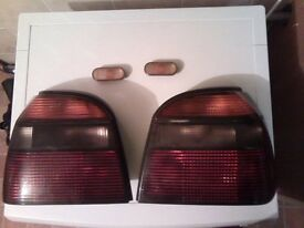 VW GOLF Mk3 HATCHBACK & CABRIOLET TINTED REAR LIGHTS, SIDE REPEATERS & FRONT FOG LAMP TOWING BLANKS
