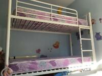 Shorty bunk beds with mattresses ( cream metal frame)