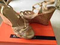Ladies/girls size 5 NEW Gold wedges from River Island
