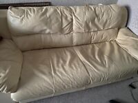 Cream Real Leather 3 seats Sofa