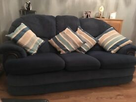 Comfy blue fabric sofa £50 smoke and pet free home