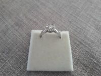 Diamond Engagement Ring, 18ct white Gold with Heart Detail
