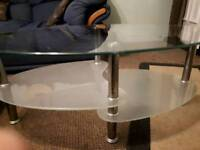 Glass coffee table / tv table