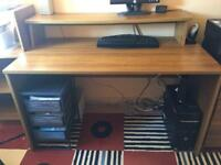 Office Furniture - Desk with shelf and set of drawers , Bookcase & Cuoboard