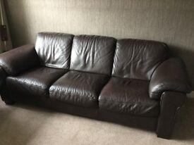 Natuzzi 3 seater Brown leather sofa
