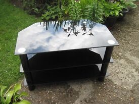 BLACK GLASS TELEVISION TABLE 600X450X480MM HIGH