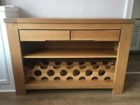 Solid Oak Sideboard with Wine Rack