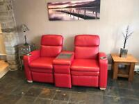 LA Z BOY® Cinema Sofa Cost £2000 New In Red Leather