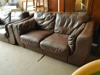 Brown leather twin two seater sofa set