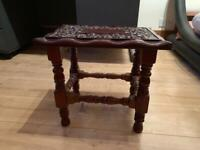 2 x Carved Wooden Solid Side Tables. Dimensions in centimetres - 41 length x 30 width x 37 height