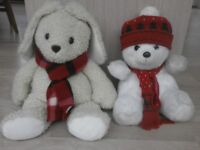 Two large soft toys (Rabbit and Bear)