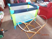 Scallywags Travel cot play pen, plus carry cot stand
