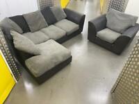 Grey&black L shape sofa set •free delivery