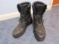 Size 14L Prabos Mens Black Leather Gortex Combat Boots