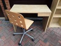 IKEA DESK , CHAIR AND BOOK CASE