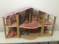 Pin toy doll house with furniture and accessories