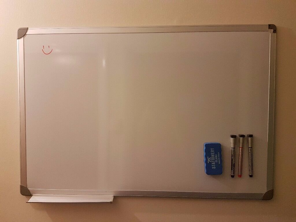 60 x 90 cm Magnetic Whiteboard Drywipe, With Pen Tray and Aluminium ...