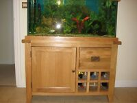 Tropical Fish Tank with Solid Oak Stand and All Accessories