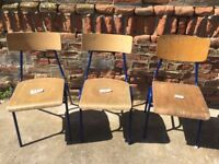 BLUE Vintage Metal Frame School Chairs Solid Plywood Dining Seats Seating Retro