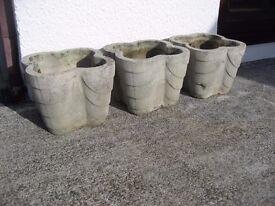 Concrete Planters x 3 'Quatrefoil' shape