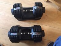 Adjustable Dumbbells 32.5kg, Pull up bar, yoga mat, yoga block and push up stands.