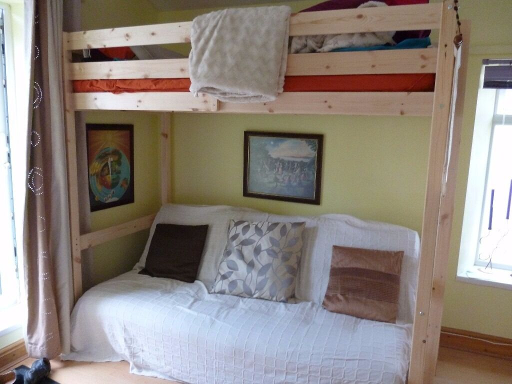 Pine 3 Ft Single Adult High Sleeper Bunk Bed Loft Bed Very Good