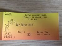 2 tickets War Horse at Nottingham Royal Concert Hall, Friday 16 March 2018, 7.30pm Tier 1. £55 each