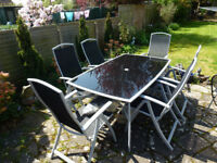 Grey / Black Glass Garden Table with 6 Reclining Chairs and Parasol