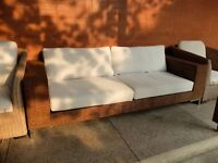4-seater rattan sofa, from Indonesia, 2.19m wide, cream cushions, 8 years old, £130 ono