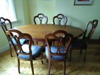 Classic Italian style dining table and matching chairs