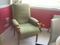 Armchair wooden frame and light green fabric covering