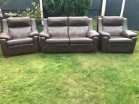 Brown leather sofa suite 3 piece can deliver