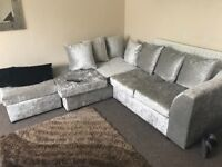 3 week old crushed velvet left hand corner sofa and footstall