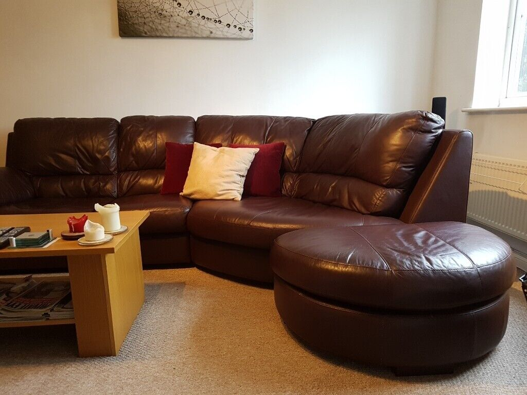 Outstanding Leather Sofa In Excellent Condition Armchair Footstool In Aldershot Hampshire Gumtree Caraccident5 Cool Chair Designs And Ideas Caraccident5Info