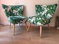 Palm Print Pair of Armchairs