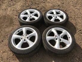 """Mercedes c class 17"""" alloy wheels - good tyres"""
