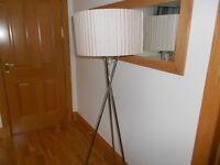 Chrome Tripod Floor Lamp with Beige Shade