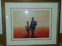 African theme prints mounted and framed