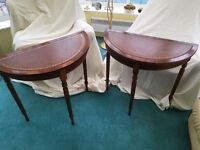 Two half moon reproduction tables
