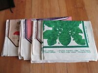 4 Habitat Irish Linen Teatowels Pudding/Champignon/Cabbage/Kitchen Task. Perfect condition, unused.