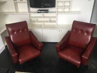 Burgundy arm chairs
