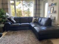 Black Soft Leather Luxury L shape Sofa