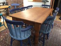 Antique Solid Pine Dining Room Table Suite - with chairs