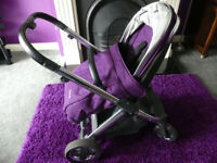 Oyster 2 pram with carry cot with purple and khaki colour packs