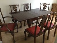 Flew feet extending table, four clew feet high back chairs plus two carver matching chairs